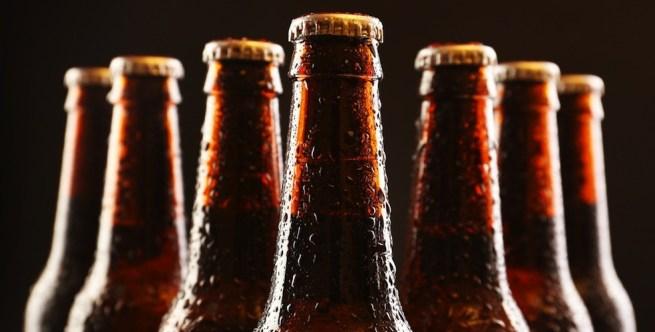 6 beer bottles brown
