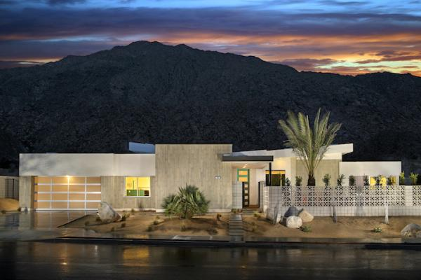 A Warmer Spin on Modern Architecture   Professional Builder Exterior shot of Skye Palm Springs Plan 1 mid century modern