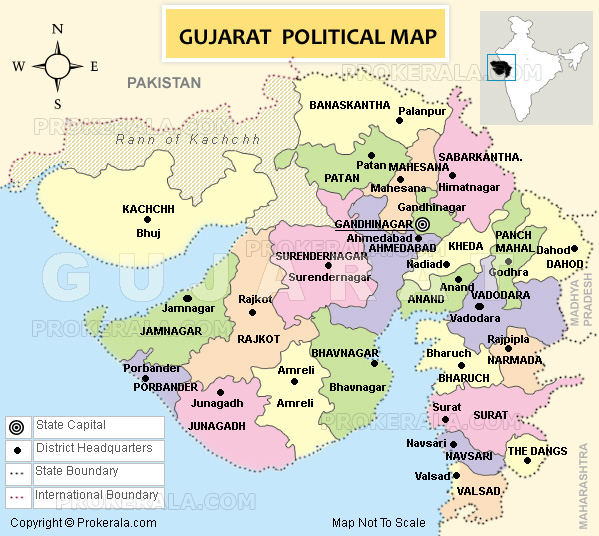 Gujarat Map, Map of Gujarat State