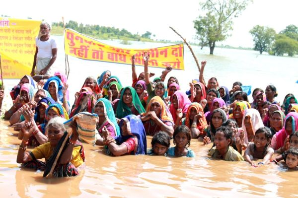 Narmada Bachao Andolan activists during second day of Jal