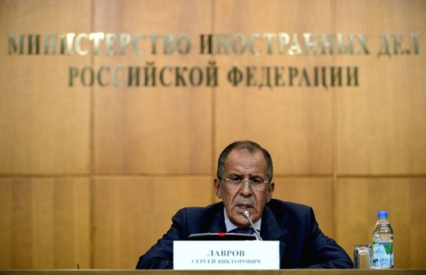 Sergei Lavrov addresses a press conference in Moscow