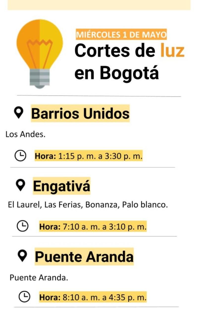 Cortes de luz en Bogotá miércoles 1 de mayo