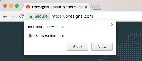 Pantalla de notificación de OneSignal para permitir o no la suscripción
