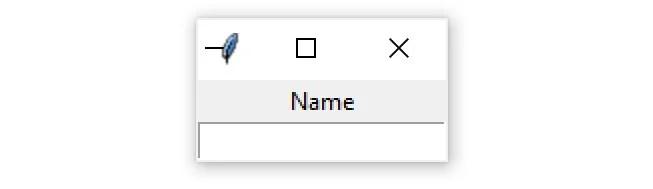 """Une fenêtre Tkinter contenant un widget d'entrée avec l'étiquette """"Nom"""""""