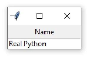 """Une fenêtre Tkinter contenant un widget Entry avec le texte """"Real Python"""""""