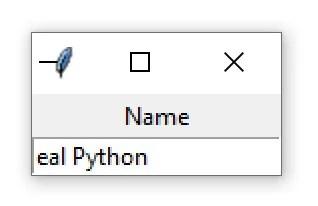 """Une fenêtre Tkinter contenant un widget d'entrée avec le texte """"eal Python"""""""
