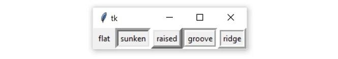 Une fenêtre Tkinter contenant 5 widgets Frame, chacun avec l'une des cinq valeurs de relief: tk.FLAT, tk.SUNKET, tk.RAISED, tk.GROOVE et tk.RIDGE