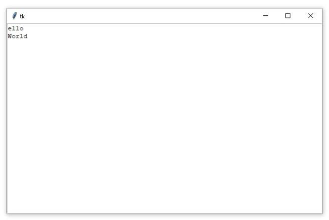 """Une fenêtre Tkinter contenant un widget Zone de texte avec le texte """"ello World"""""""