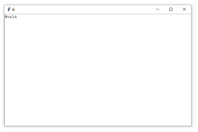 """Une fenêtre Tkinter contenant un widget Zone de texte avec le texte """"Monde"""""""