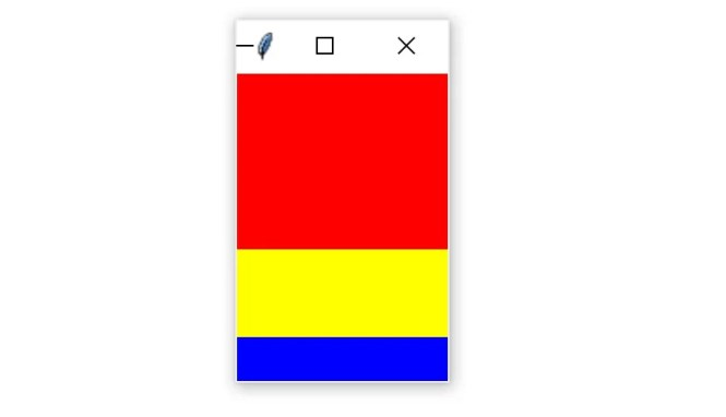 A Tkinter window containing three colored frames packed vertically and expanded horizontally to fill the entire window