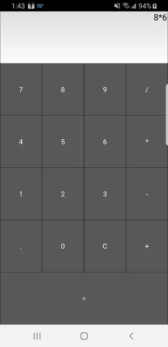 Calculatrice Kivy fonctionnant sur un téléphone Android