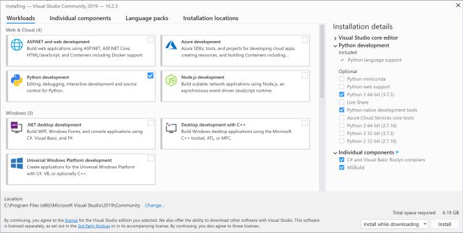 Fenêtre Options de Visual Studio
