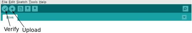 Boutons de vérification et de téléchargement sur Arduino IDE