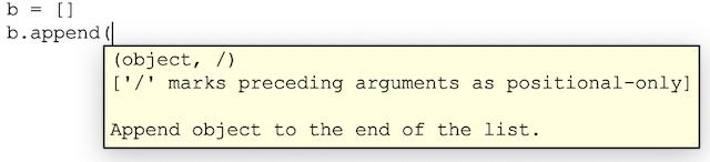 affiche un conseil d'appel simple pour la méthode append avec une liste python