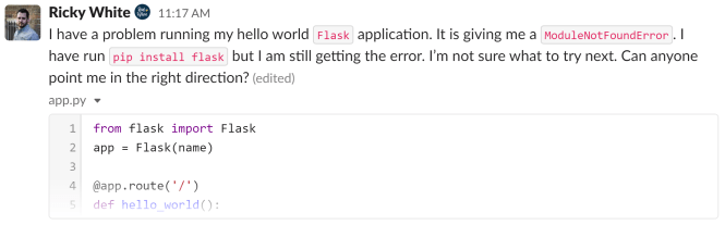 Extraits de code dans Slack