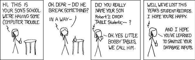 Un webcomic humoristique de xkcd sur l'effet potentiel de l'injection SQL