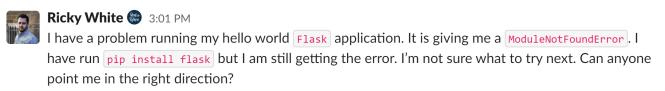 Exemple de code en ligne Slack