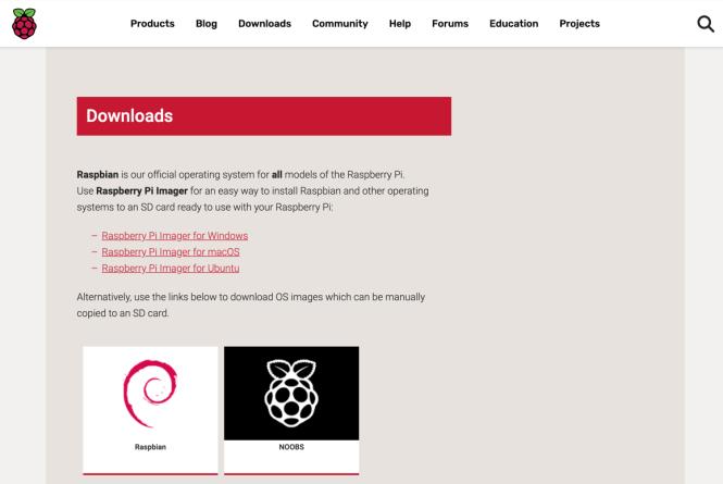 Page de téléchargement de Raspberry Pi Imager