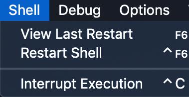 la barre de menus pour IDLE avec le menu Shell affiché, affichant les options de vue dernier redémarrage, redémarrage du shell et interruption de l'exécution