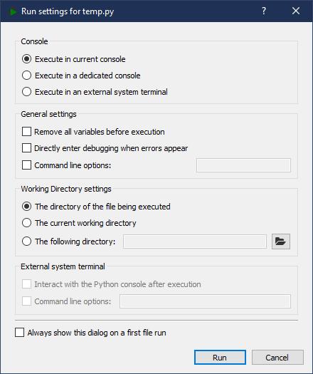 Paramètres d'exécution de la Spyder IDE
