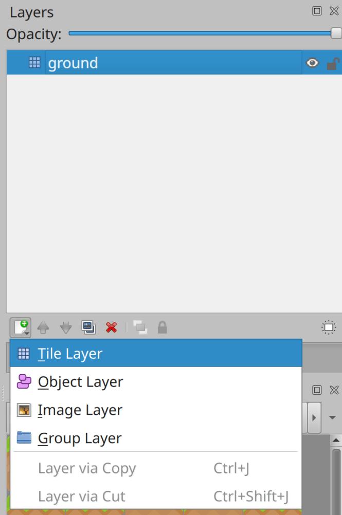 Création d'une nouvelle couche de carte dans Tiled