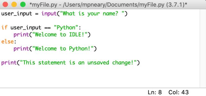 montre à quoi ressemble un fichier non enregistré dans l'éditeur inactif