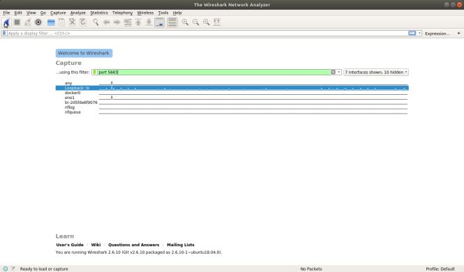 Wireshark avec bouclage et filtrage de port cliqué