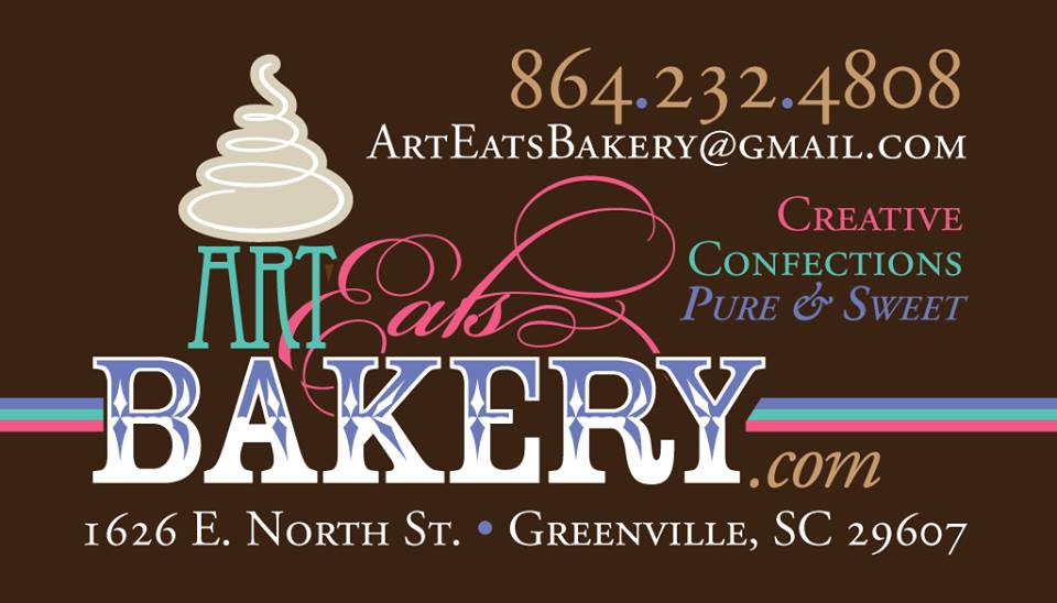 Art Eats Bakery in Greenville, SC business card design with ...
