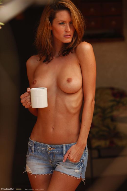 Nikkala Stott, brunette, strip, coffee, shorts,