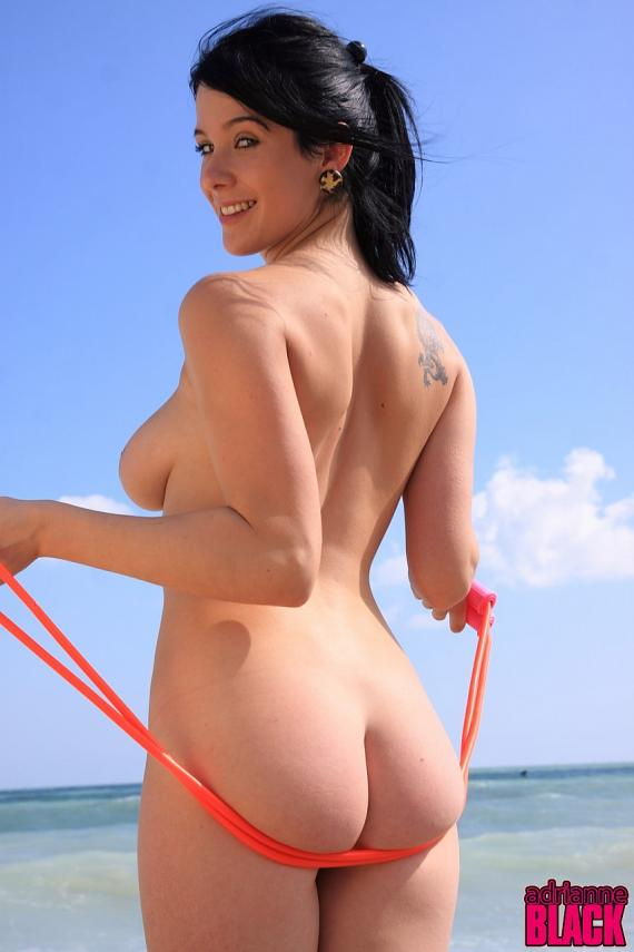 Adrianne Black, brunette, strip, busty, jump, rope