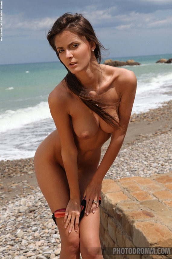 Barbara, brunette, strip, nude, perky, ass, beach