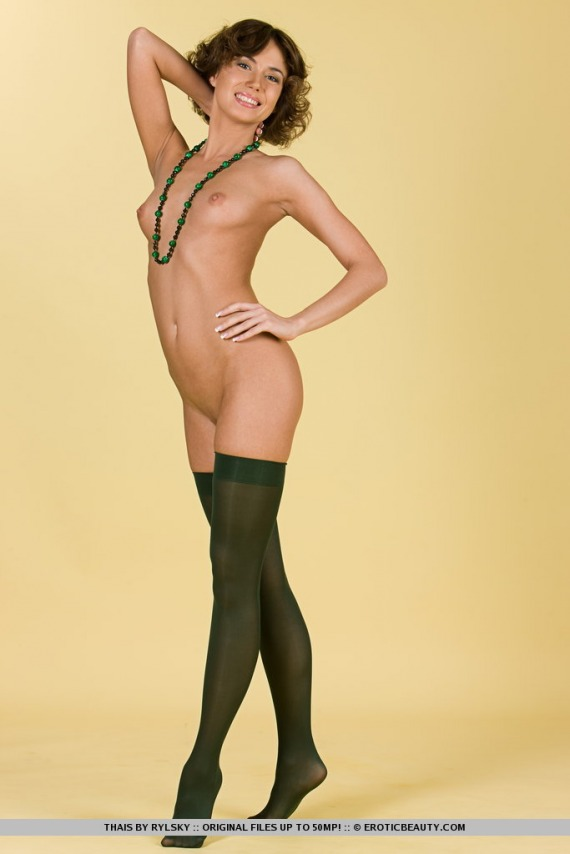 Thais, brunette, nude, perky, ass, necklace, stockings