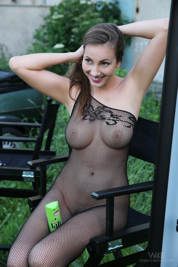 Connie, brunette, strip, topless, busty, bodystocking