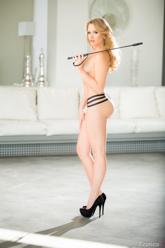 Mia Malkova, blonde, strip, topless, ass, lingerie, whip