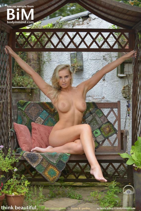 Lissy Cunningham, blonde, nude, busty, pose, swing