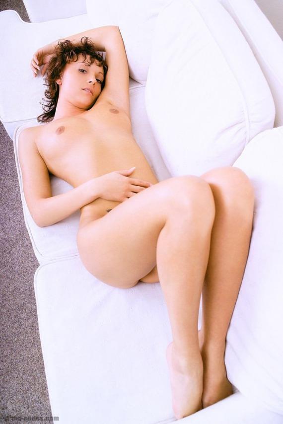 Pavla, redhead, tattoo, nude, couch