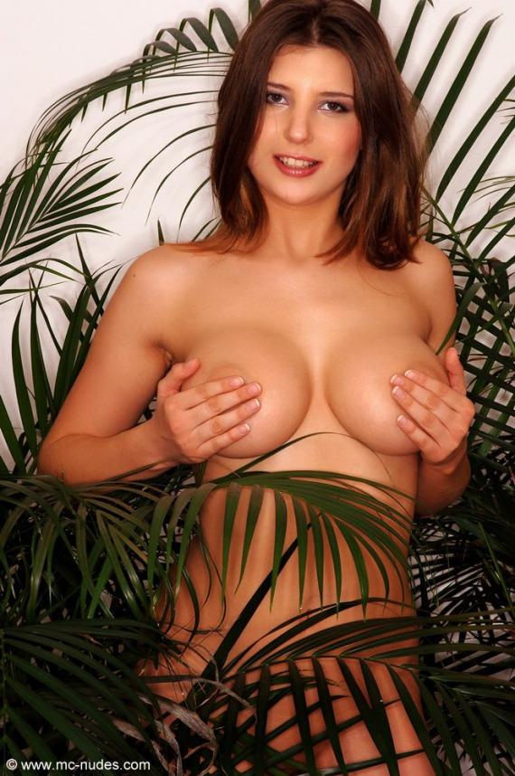 Olivia, redhead, busty, nude, strip, plants