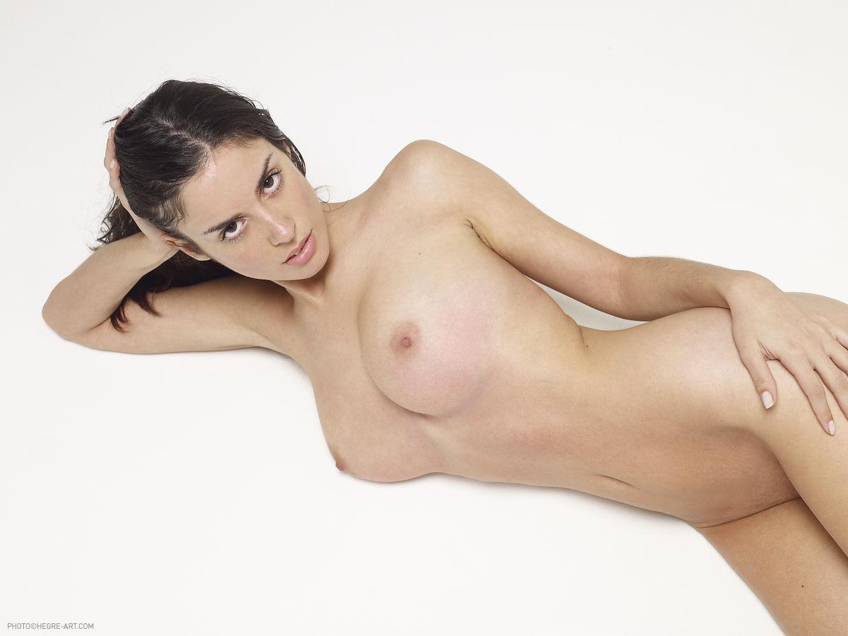 Muriel, brunette, busty, nude, bush