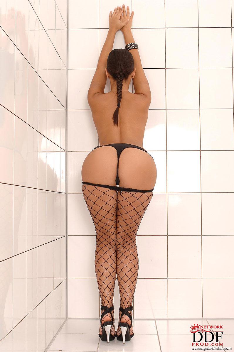Eve Angel, brunette, strip, dress, fishnet
