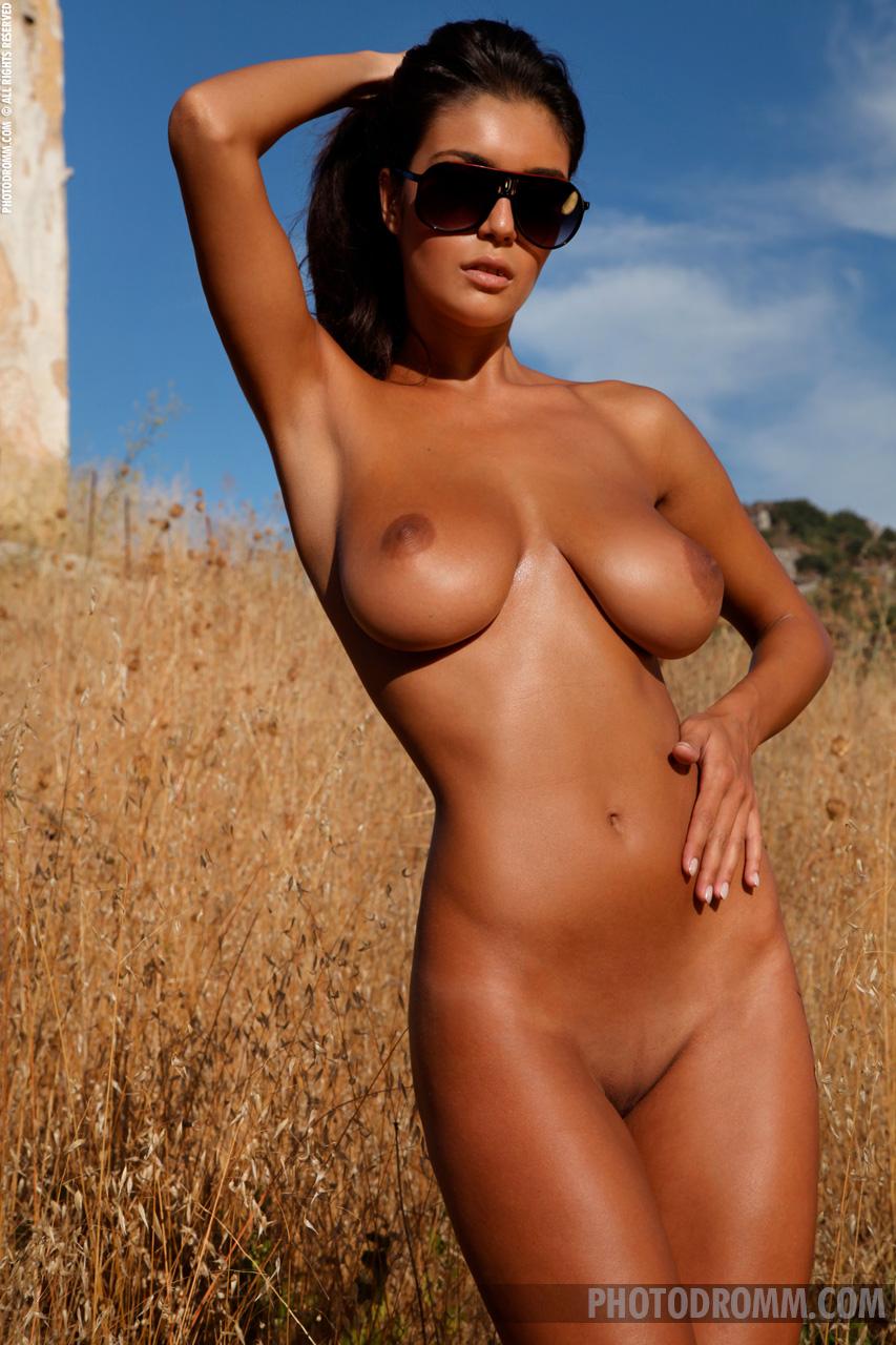 Ela, brunette, strip, nude, busty, ass, sunglasses