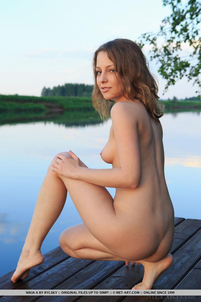Nikia A, blonde, nude, strip, dock