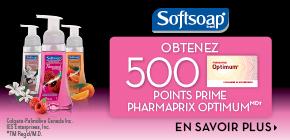 B softsoap 500ptsofferPF - Pharmaprix: Plusieurs offres pour multiplier vos points Optium