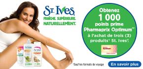 B StIves get1000 PF - Pharmaprix: Plusieurs offres pour multiplier vos points Optium