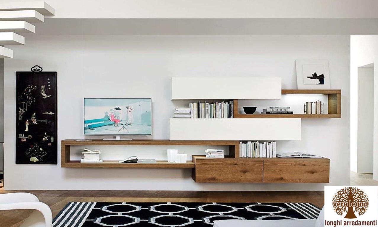 Marius v, mobile da soggiorno, in legno, con tre ante: Mobili E Pareti Soggiorno Su Misura In Legno Naturale Massiccio