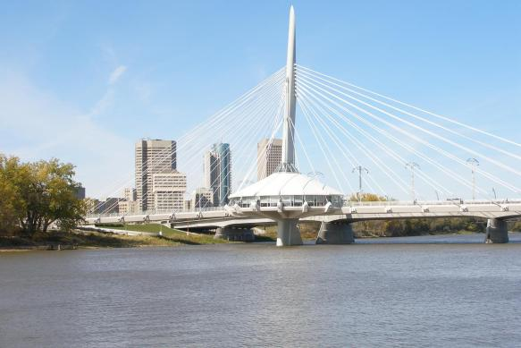 esplanade riel bridge near downtown Winnipeg