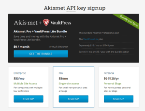 Akismet Signup Page
