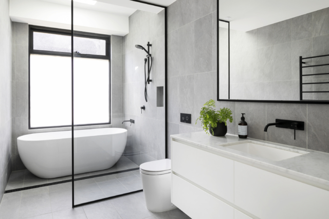 Real reno: Pops of blue star in this Melbourne home - The ... on Main Bathroom Ideas  id=77548