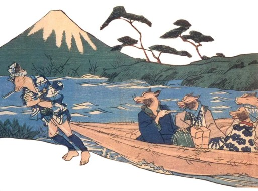 tanuki using its balls to drag other tanuki across a river
