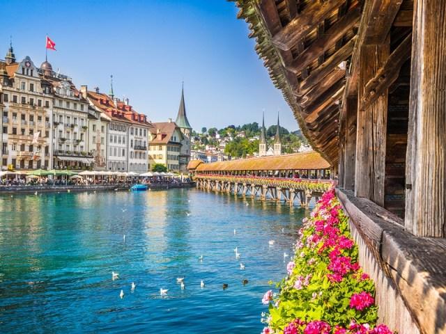 Famous Chapel Bridge in the historic city center of Lucerne