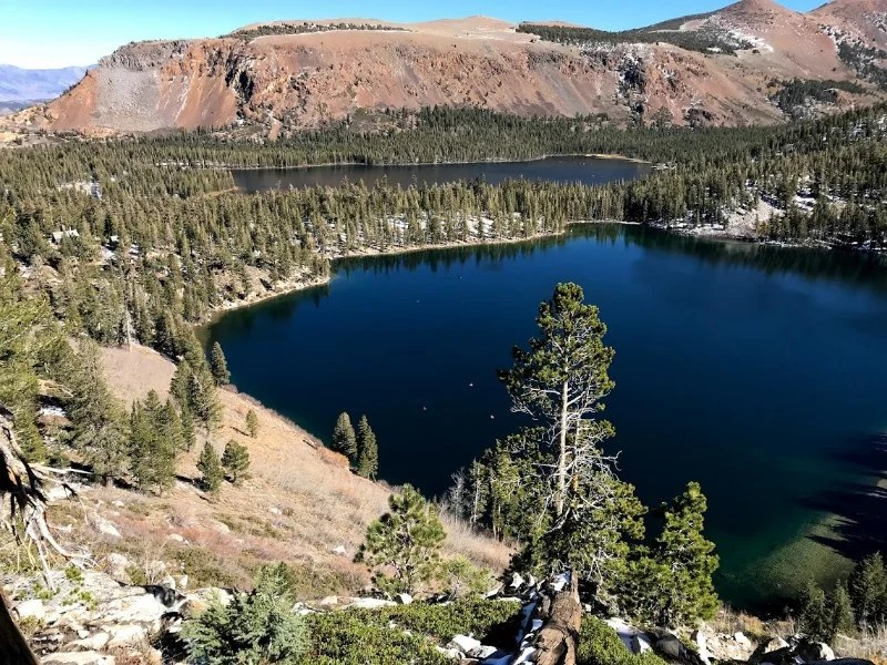 Looking down on the alpine lakes in the June Lake area